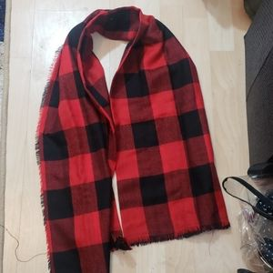 Checker Scarf Red and Black
